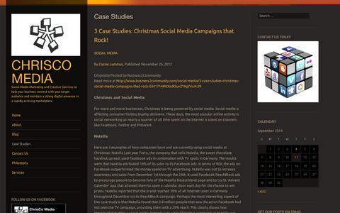 Screenshot of Case Studies Page wordpress.com - Case Studies | ChrisCo Media - captured Sept. 12, 2014