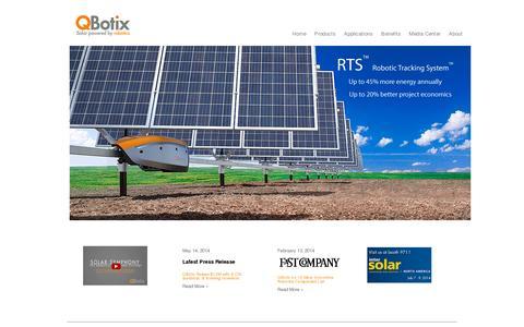Screenshot of Home Page qbotix.com - QBotix - captured July 11, 2014