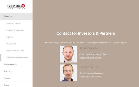 Screenshot of project-a.com - Project A Ventures   We build companies   Contact for Investors & Partners - captured March 29, 2016