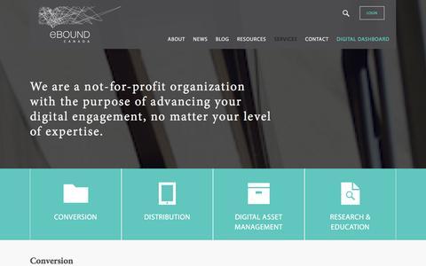 Screenshot of Services Page eboundcanada.org - Services | eBOUND Canada - captured Dec. 14, 2015