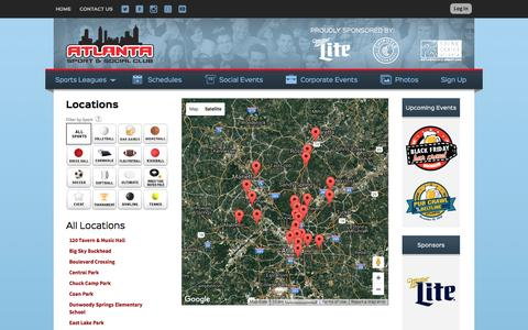 Screenshot of Locations Page atlantasportandsocialclub.com - Locations: Atlanta Sport and Social Club - Atlanta, GA - captured Nov. 21, 2016