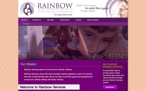 Screenshot of Home Page rainbowservicesdv.org - Rainbow Services | Providing help & hope. - captured Oct. 1, 2014