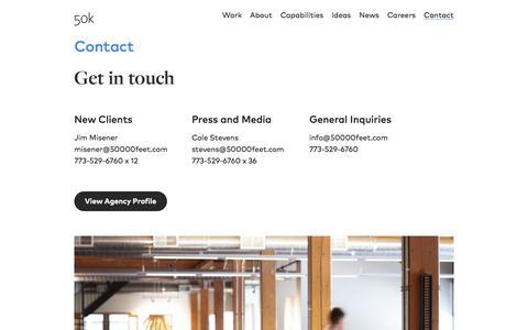 Screenshot of Contact Page 50000feet.com - Contact Us - captured Oct. 14, 2019