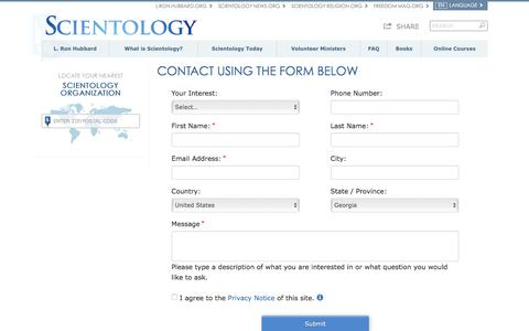 Screenshot of Contact Page scientology.org - CONTACT US - captured March 8, 2018