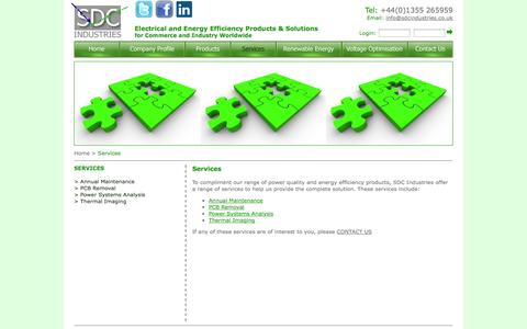 Screenshot of Services Page sdcindustries.co.uk - SDC Industries Services - captured Sept. 30, 2014