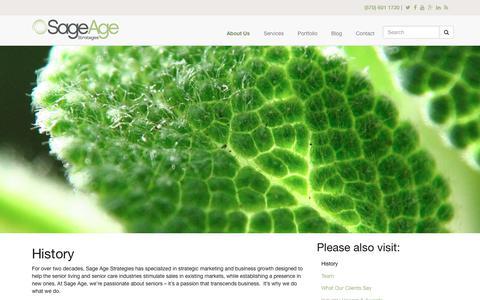Screenshot of sageagestrategies.com - History | Sage Age Strategies - captured June 23, 2017