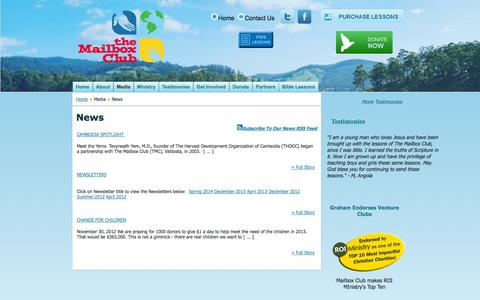 Screenshot of Press Page mailboxclub.org - Mailbox Club -  Ministry News & Newsletters - captured Oct. 8, 2014