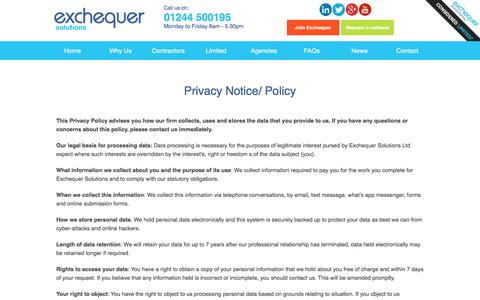 Screenshot of Privacy Page exchequersolutions.co.uk - Privacy Policy - Umbrella Company - captured Nov. 30, 2017