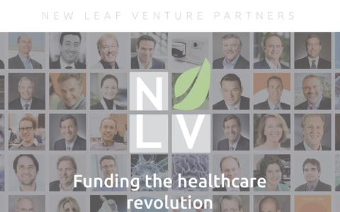 Screenshot of Home Page nlvpartners.com - New Leaf Venture Partners - captured Oct. 20, 2017