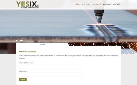 Screenshot of Login Page yesix.nl - YESIX Career Management - captured Oct. 3, 2014
