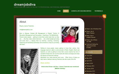 Screenshot of About Page wordpress.com - About | dreamjobdiva - captured Sept. 12, 2014