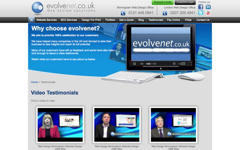 Screenshot of Testimonials Page evolvenet.co.uk - Birmingham Web Design Testimonials | Good Web Design Company | Professional Web Design Company Testimonials - captured Sept. 24, 2014