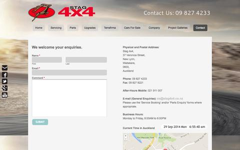 Screenshot of Contact Page stag4x4.co.nz - Contact - Range Rover Specialists09 8274233 - captured Sept. 30, 2014