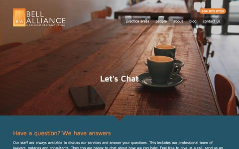 Screenshot of Contact Page bellalliance.ca - Lawyers Vancouver BC for Real Estate, Wills, Business - Bell Alliance - captured Feb. 7, 2016
