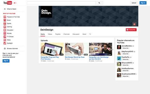 Screenshot of YouTube Page youtube.com - DeinDesign  - YouTube - captured Oct. 31, 2014