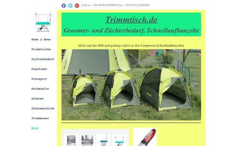 Screenshot of Home Page trimmtisch.de - Trimmtisch.de, camptown.de, Hundezüchterbedarf - captured July 12, 2018