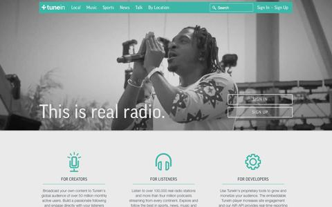 Screenshot of Home Page tunein.com - TuneIn: Listen to Online Radio, Music and Talk Stations - captured Jan. 15, 2015