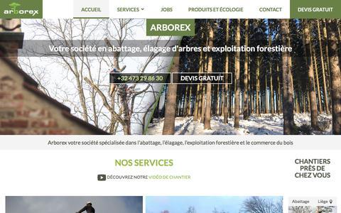 Screenshot of Home Page arborex.be - Arborex, abattage, élagage d'arbres et exploitation forestière en Belgique, Luxembourg et France. - captured Oct. 7, 2017