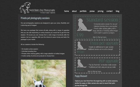 Screenshot of Pricing Page northwalesdogphotography.co.uk - North Wales Dog Photography - pet photography packages - captured Oct. 9, 2014