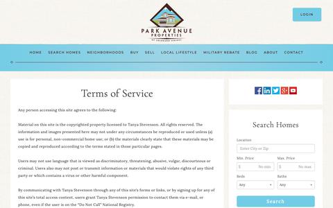 Screenshot of Terms Page coloradospringsehomes.com - Terms of Service - The Park Avenue Properties Team - captured Sept. 27, 2018