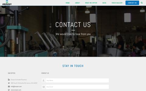 Screenshot of Contact Page orazen.com - Contact Us | Orazen Extruded Polymers - captured Nov. 2, 2017