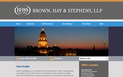 Screenshot of About Page bhslaw.com - Firm Profile   Brown, Hay & Stephens, LLP   - captured Feb. 8, 2016