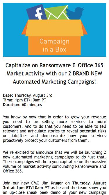 Intermedia webinar | Capitalize on Ransomware & Office 365 market activity with our 2 BRAND NEW Automated marketing campaigns!