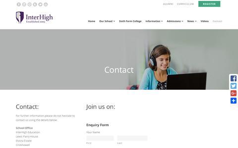 Screenshot of Contact Page interhigh.co.uk - Contact - InterHigh School - captured Feb. 11, 2016