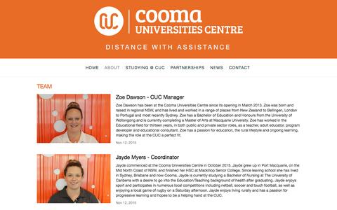 Screenshot of Team Page coomauc.com.au - Team — Cooma Universities Centre - captured March 15, 2016
