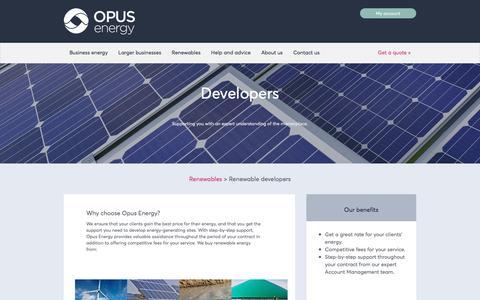 Screenshot of Developers Page opusenergy.com - Developers | Opus Energy | Renewable energy developers - captured Dec. 2, 2016