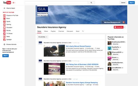 Screenshot of YouTube Page youtube.com - Saunders Insurance Agency  - YouTube - captured Oct. 23, 2014