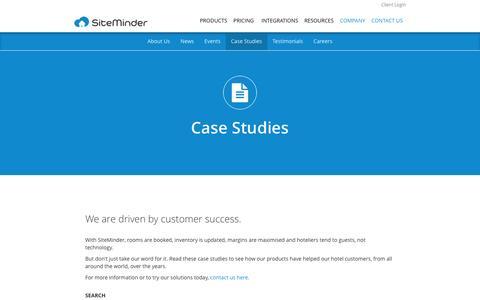 Screenshot of Case Studies Page siteminder.com - SiteMinder Customer Success - Case Studies - captured Oct. 27, 2016