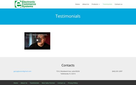 Screenshot of Testimonials Page freechipmachine.com - Testimonials | Electronic Commerce Systems - captured July 9, 2018