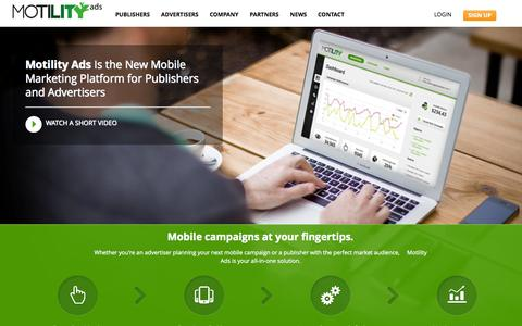 Screenshot of Home Page motilityads.com - Motility Ads | Generate Revenue and Promote your Mobile Apps with targeted ads - captured Sept. 22, 2014