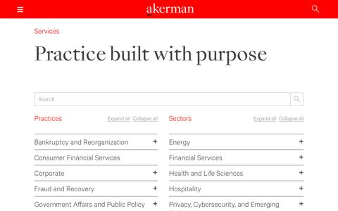 Screenshot of Services Page akerman.com - Practice built with purpose - Akerman LLP - captured Sept. 23, 2018