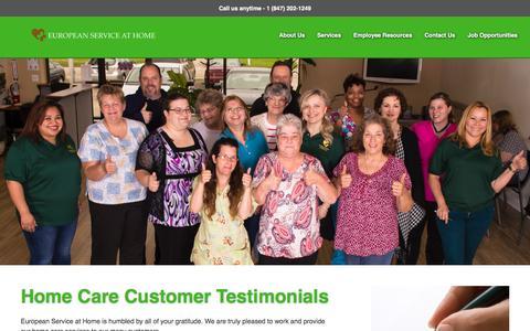 Screenshot of Testimonials Page europeanservice.org - European Service | Home Care Customer TestimonialsEuropean Service at Home, Inc. - captured Nov. 11, 2016