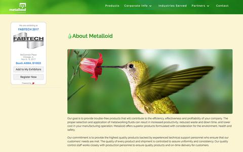 Screenshot of About Page metalloidcorp.com - About - Metalloid Corporation - captured Oct. 18, 2017