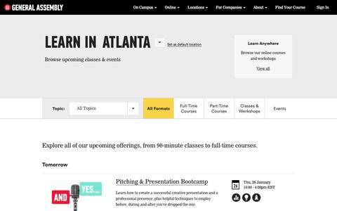 Web Design, Business, Technology Classes and   General Assembly