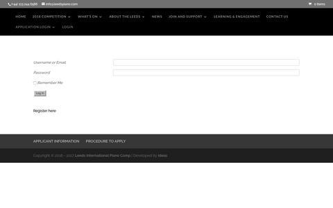 Screenshot of Login Page leedspiano.com - LOGIN   Leeds International Piano Comp - captured June 30, 2017