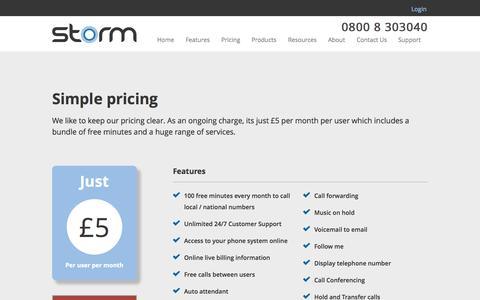 Screenshot of Pricing Page stormtele.com - Voip Phone system pricing - captured Oct. 6, 2014