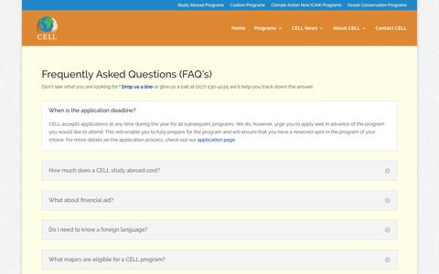 Screenshot of FAQ Page cellonline.org - FAQ's   Center for Ecological Living and Learning - captured Sept. 6, 2016