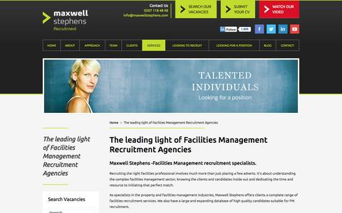 Screenshot of Services Page maxwellstephens.com - We are one of the leading Facilities Management Recruitment Agencies in the UK - captured Oct. 27, 2014