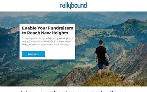 Screenshot of Landing Page rallybound.com - Enable your fundraisers! - captured Sept. 28, 2017