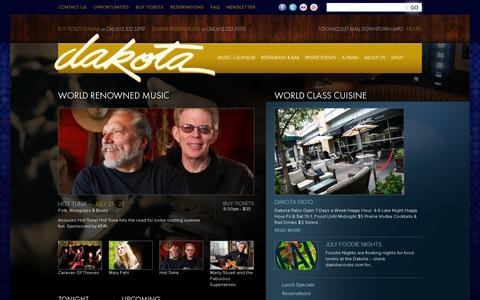 Screenshot of Home Page dakotacooks.com - Home | Dakota Jazz Club - captured July 11, 2014