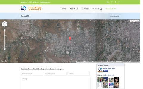 Screenshot of Contact Page quleiss.com - Contact website designer in india - captured Nov. 2, 2014