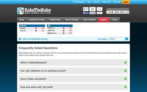 Screenshot of FAQ Page Support Page raketherake.com - RakeTheRake Frequently Asked Questions and Answers - captured Oct. 26, 2014