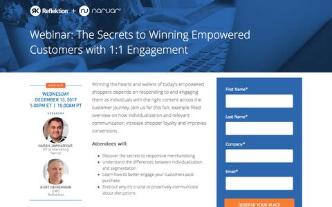 Screenshot of Landing Page reflektion.com - The Secrets to Winning Empowered Customers with 1:1 Engagement - captured Jan. 14, 2018
