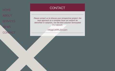 Screenshot of Contact Page capplex.com - CONTACT - CAPPLEX - captured Oct. 28, 2014