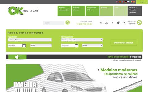 Screenshot of Home Page okrentacar.es - OK RENT A CAR | Alquiler de coches Baleares, Barcelona y Madrid - captured Nov. 12, 2016