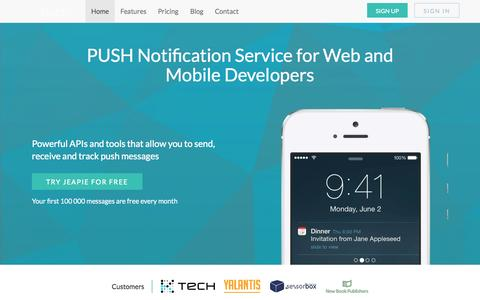 Screenshot of Home Page jeapie.com - Jeapie - push notification service for web and mobile development - captured Sept. 30, 2014